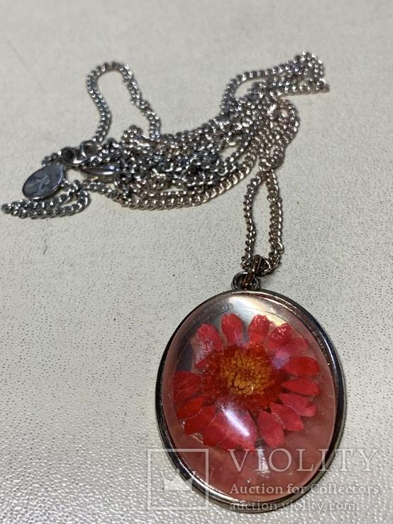 Кулон Цветок на цепочке из италии, фото №2