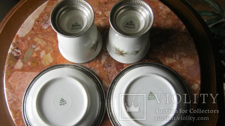 Rosenthal , Розенталь .Стопки с блюдцами в серебре+спецовник., фото №6