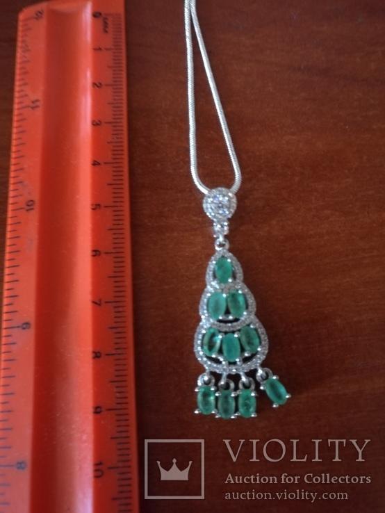Ожерелье с прозрачными изумрудами, фото №2
