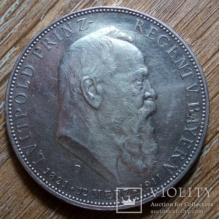 Бавария 5 марок 1911 г., фото №2