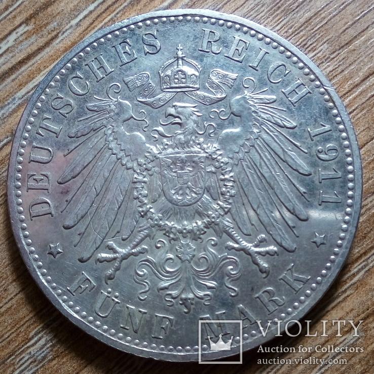 Бавария 5 марок 1911 г., фото №3