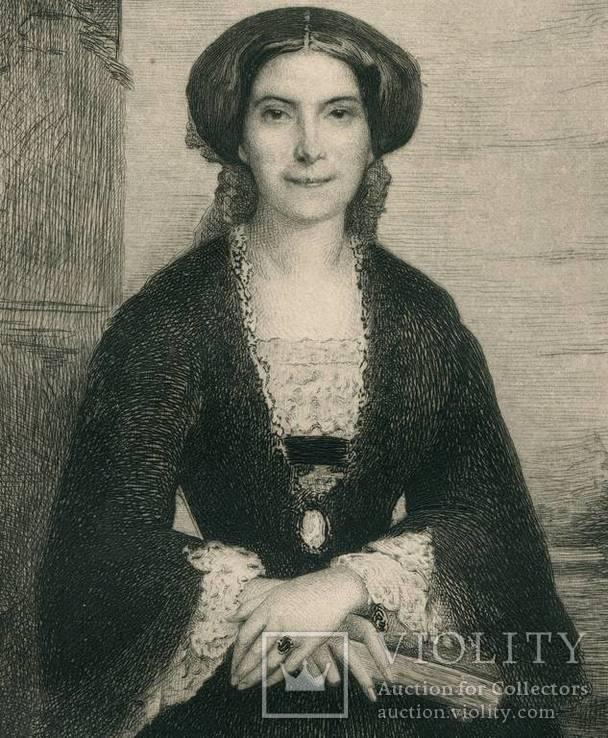 Старинная гравюра. Мадам De Santa - F