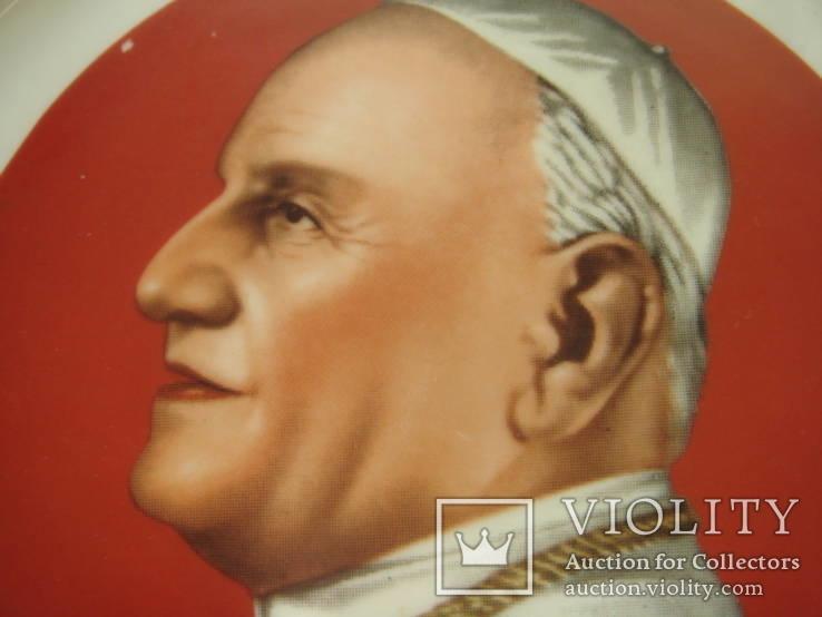 Святой Иоанн XXIII, настенная тарелка, фарфор, обильно полита золотом., фото №3