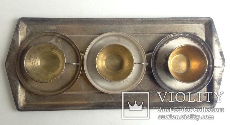 Чашки кофейные с блюдцами на подносе. Мельхиор CCCP., фото №2