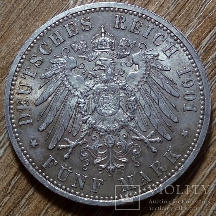 Пруссия 5 марок 1901 г., фото №3