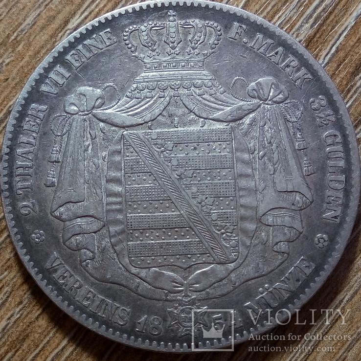 Саксония 2 талера 1854 г., фото №2