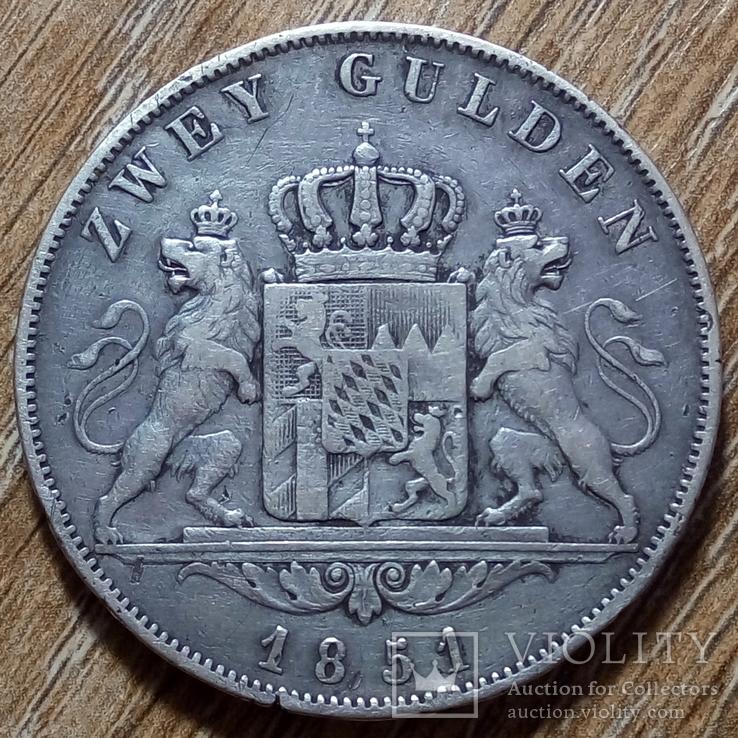 Бавария 2 гульдена 1851 г., фото №2
