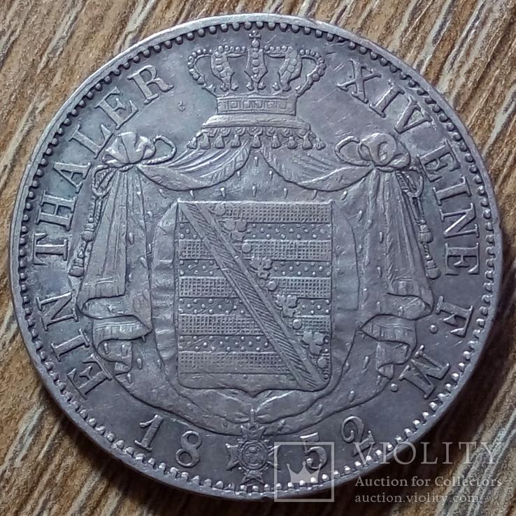 Саксония - Альбертина 1 талер 1852 г., фото №2
