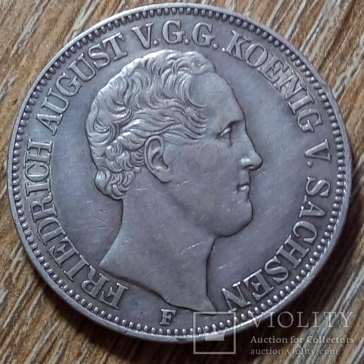 Саксония - Альбертина 1 талер 1852 г., фото №3