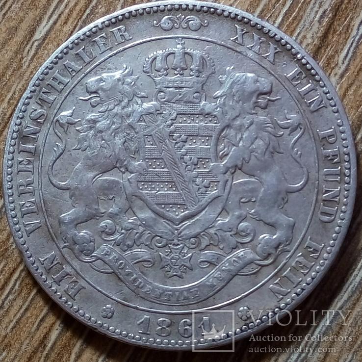 Саксония - Альбертина 1 талер 1861 г., фото №2