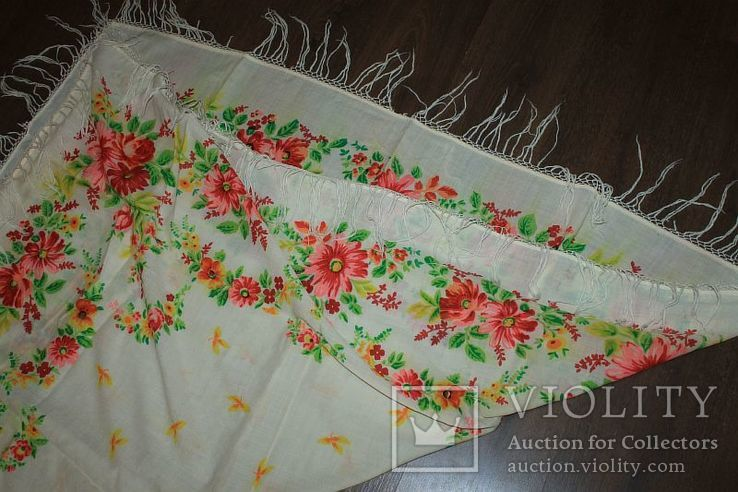 Шерстяной старинный платок №288, фото №11