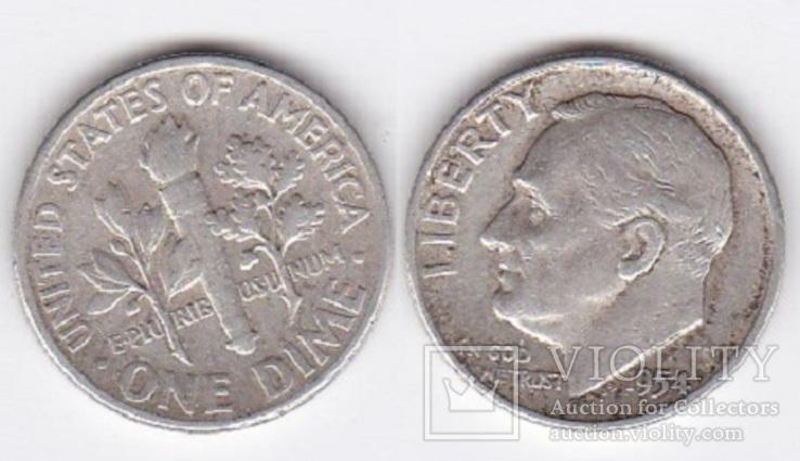 USA США - 1 Dime 1954 серебро JavirNV