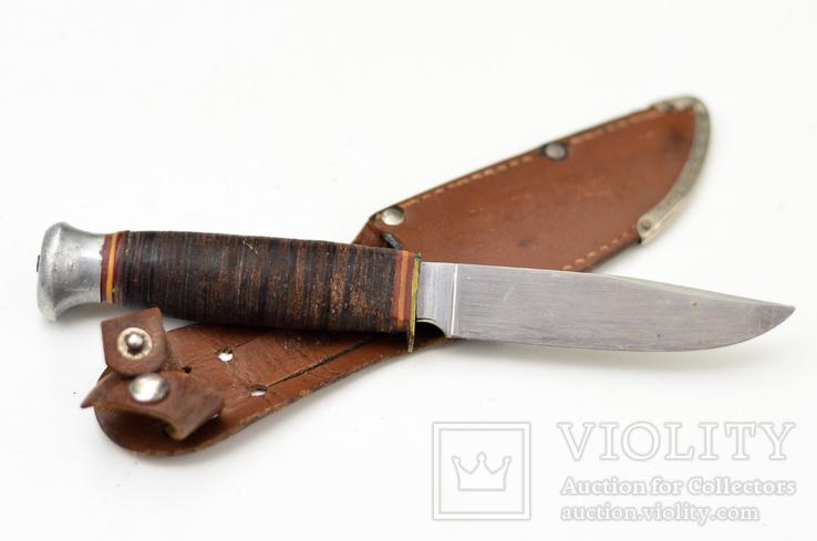 Охотничий нож с кожанной рукояткой, клеймо Золинген, 50-60е гг