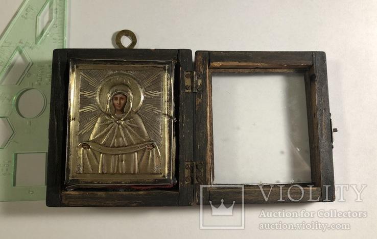 Икона в серебряном окладе (84проба) в киоте, фото №3
