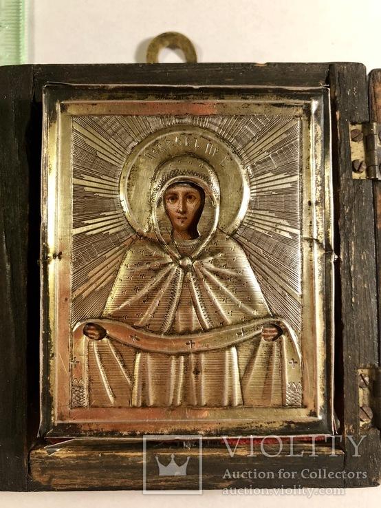 Икона в серебряном окладе (84проба) в киоте, фото №4