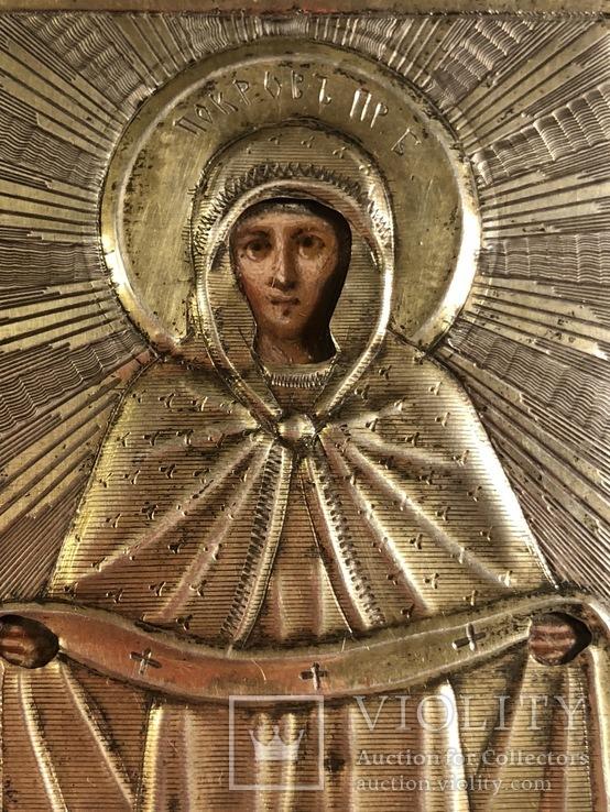 Икона в серебряном окладе (84проба) в киоте, фото №5