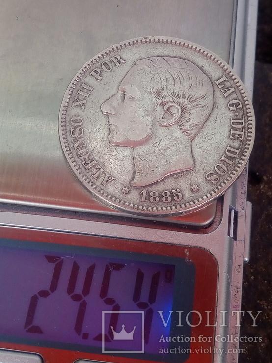 5 песет 1885 Испания серебро, фото №3