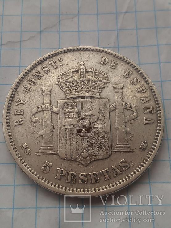 5 песет 1885 Испания серебро, фото №5
