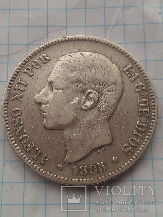 5 песет 1885 Испания серебро, фото №2
