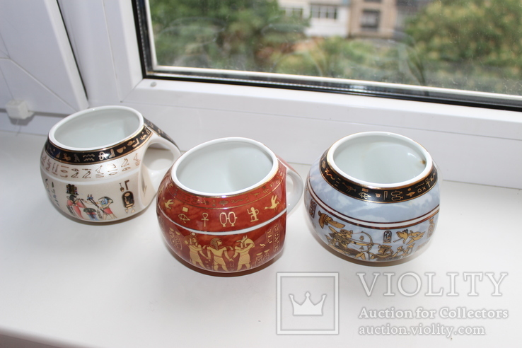 "Три чашки,  марка ""FM Fathi Mahmoud Limoges"" c 1942 года. (Египет)"