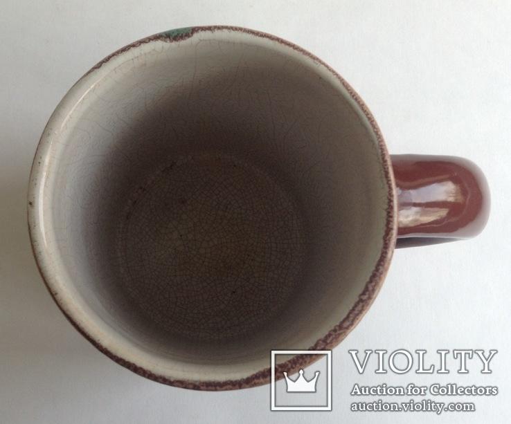 Кружка для пива / кваса старинная. Поливная керамика. Кракелюр., фото №3