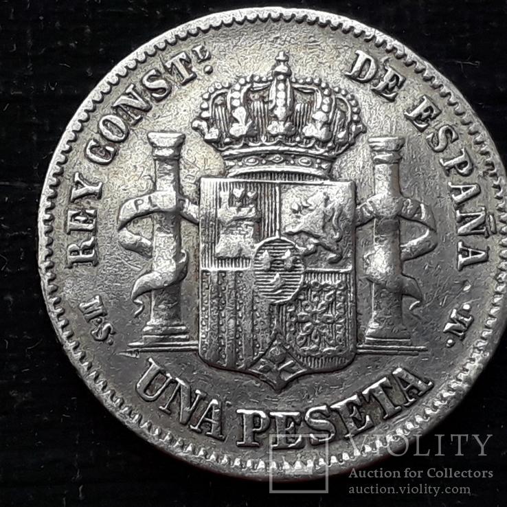 1 песета, Испания, 1882 год, серебро, 0.835, 5 грамм, фото №3