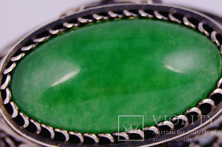 Серебряные серьги 925 жадеит, фото №7