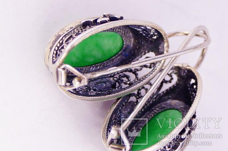 Серебряные серьги 925 жадеит, фото №10
