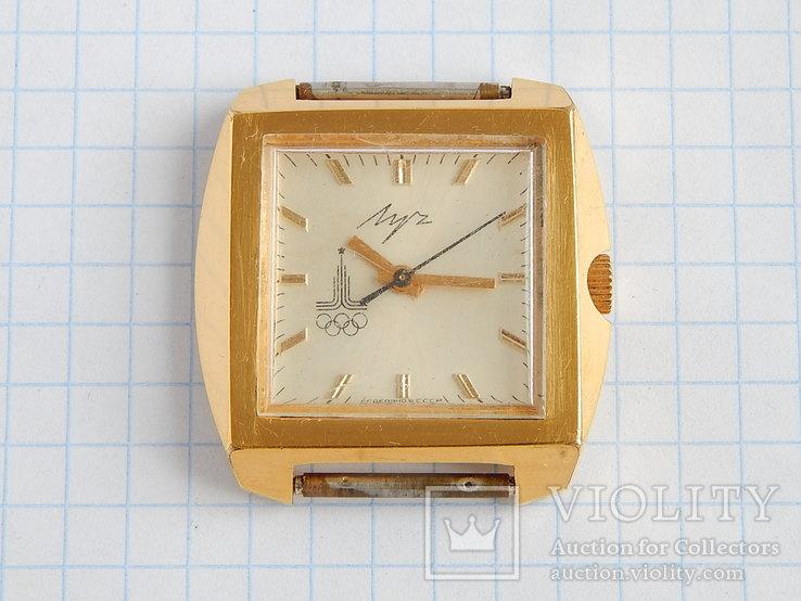 """Часы """"Луч Олимпиада СССР"""" в позолоте AU10 (на ходу), квадратный дизайн."""
