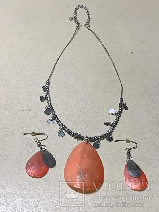 Ожерелье+серьги с перламутром в наборе, фото №2