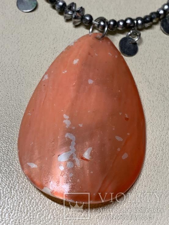 Ожерелье+серьги с перламутром в наборе, фото №4