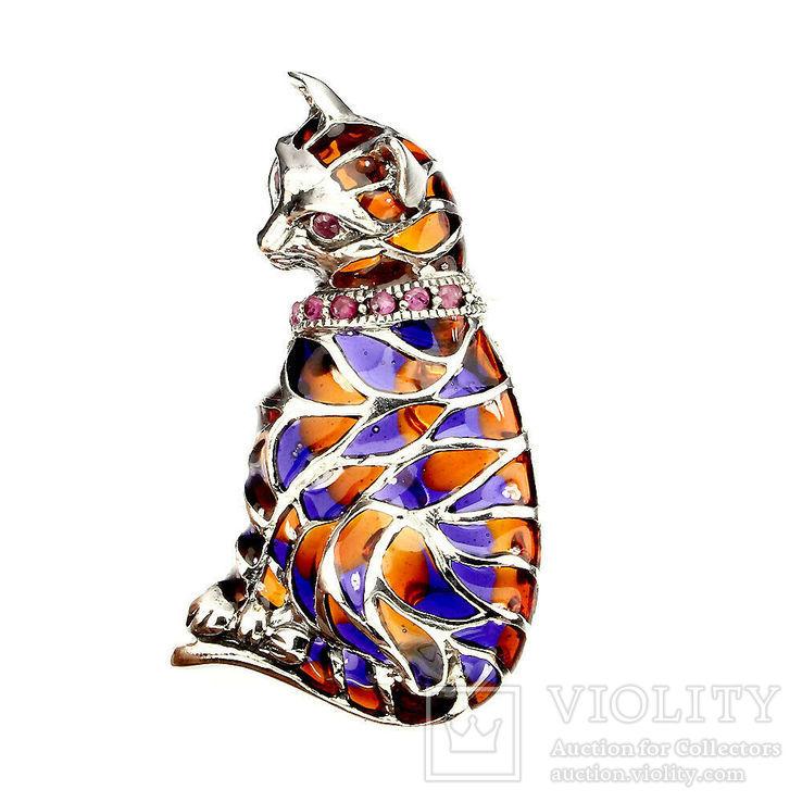 Брошь подвеска кошечка с рубинами и эмалью, фото №2