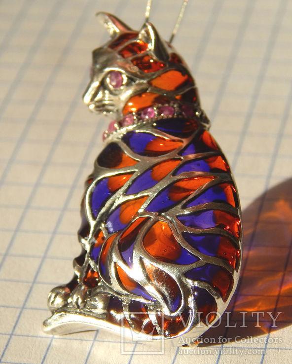 Брошь подвеска кошечка с рубинами и эмалью, фото №3