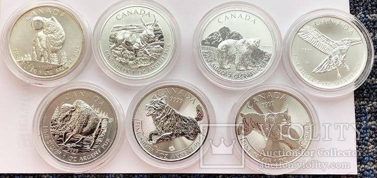 7 монет по 5$ Канада серебро 217,7 грамм 999,9'