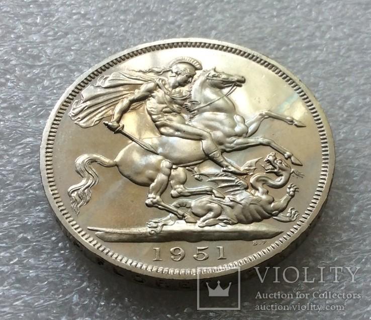Великобритания. 5 Шиллингов / Крона 1951 г. Proof. Георг VI, фото №5