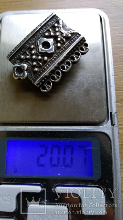Часть пояса серебро 84пр. чернение именник В.Г масса 20,07г, фото №2