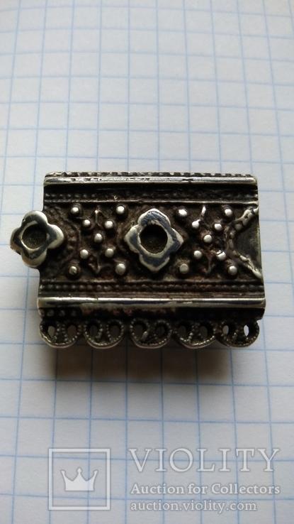 Часть пояса серебро 84пр. чернение именник В.Г масса 20,07г, фото №3