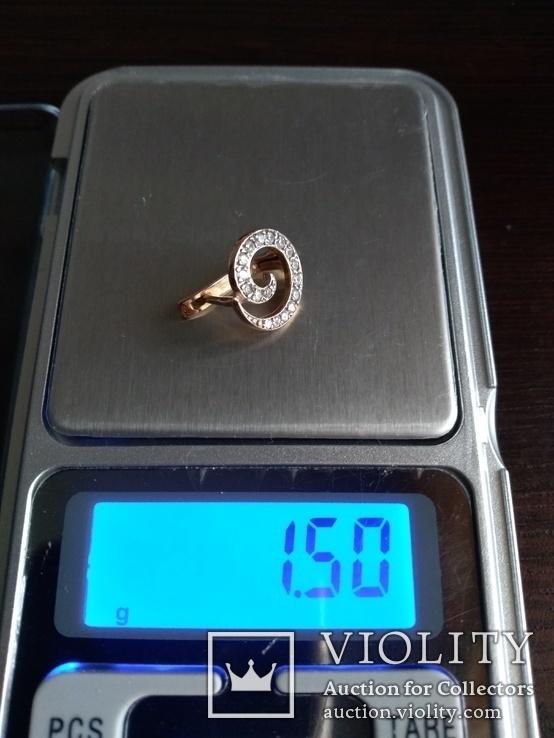Серьга, золото 585, трезубец, с камешками., фото №6