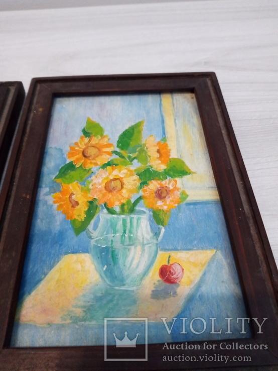 Парные маленькие кухонные Натюрморты масло картон, фото №5