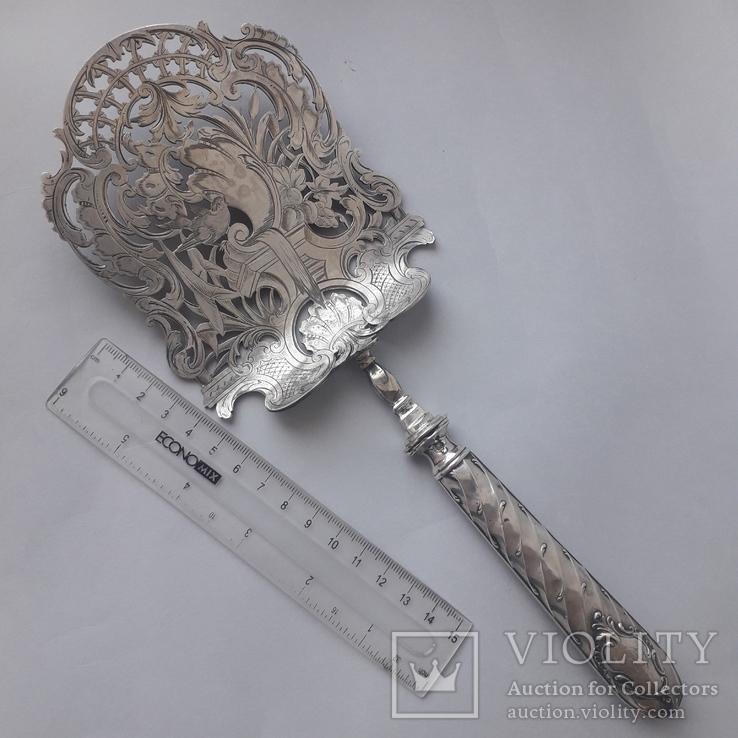 Сервировочная лопатка (для спаржи), рукоять серебро, Франция