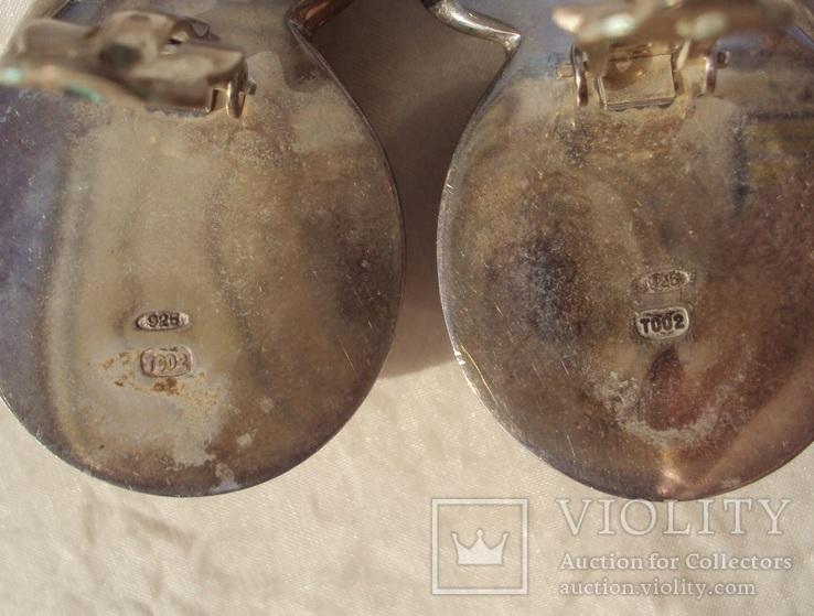 Фирменные серебряные клипсы, модернизм, 41 грамм., фото №8