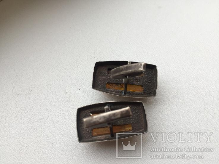 Запонки серебро 875, янтарь, фото №4