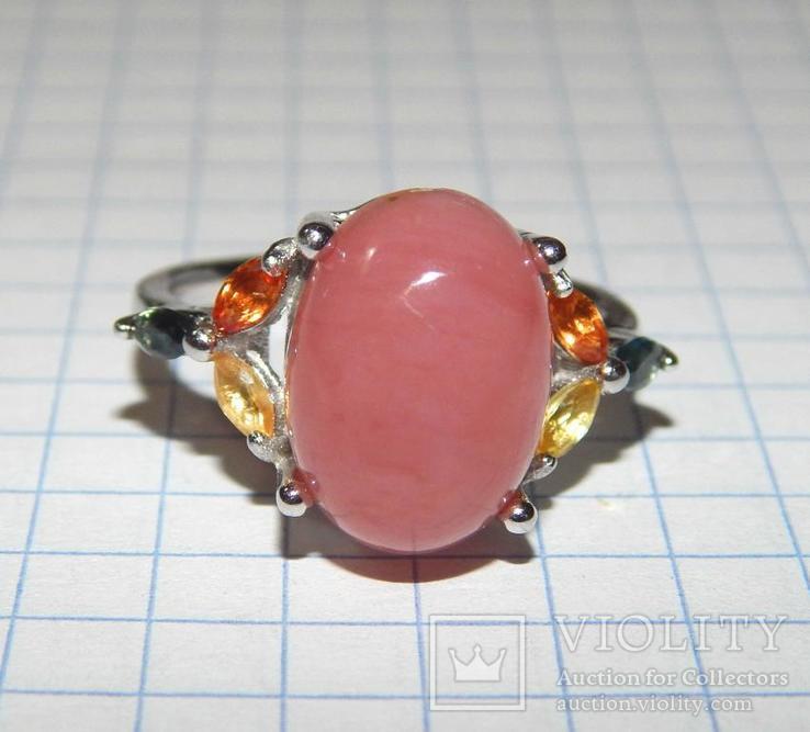 Кольцо розовый опал + сапфиры, фото №3