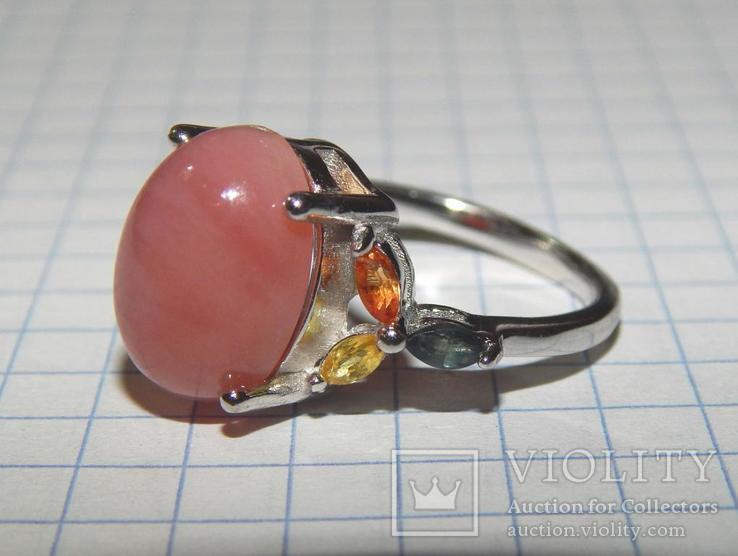Кольцо розовый опал + сапфиры, фото №4