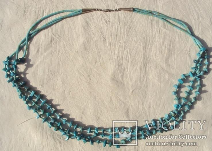 Бусы ожерелье натуральная бирюза США.
