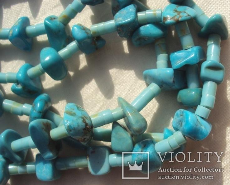 Бусы ожерелье натуральная бирюза США., фото №7