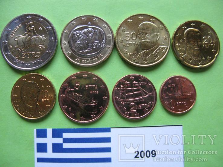 Греция, набор евро монет 2009 г. UNC., фото №3