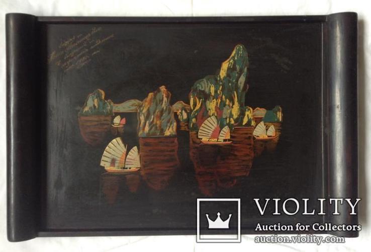 Поднос чёрно - лаковый. Вьетнам ручная роспись., фото №2