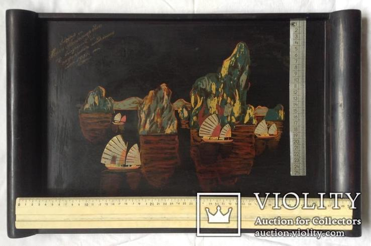 Поднос чёрно - лаковый. Вьетнам ручная роспись., фото №3