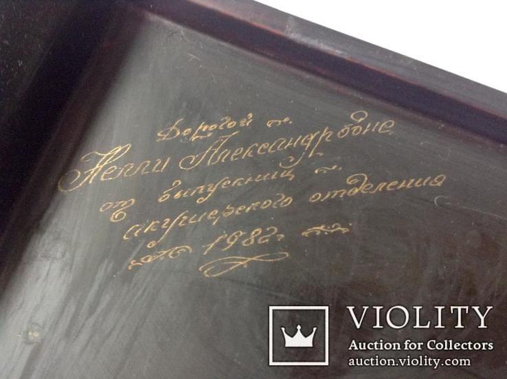 Поднос чёрно - лаковый. Вьетнам ручная роспись., фото №5